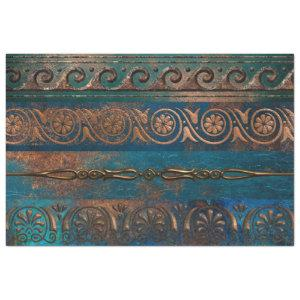 Copper Patina and Turquoise Grecian Metallic Tissue Paper