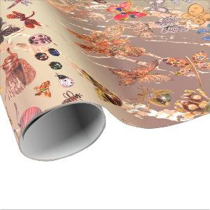 Copper Rose Gold Meadow Butterfly Insects Gems Wrapping Paper
