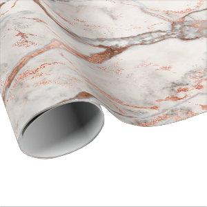 Copper Rose Gray Strokes Carrara Marble Stone Wrapping Paper