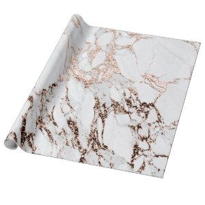 Copper Rose White Metal Gray Carrara Marble Stone Wrapping Paper