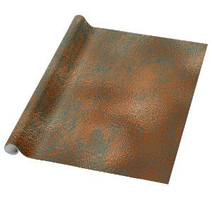 Copper Rust Blue Patina Metallic Abstract Teal Lux Wrapping Paper
