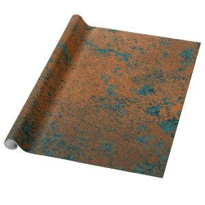 Copper Rust Blue Patina Metallic Abstract Teal Wrapping Paper