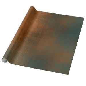 Copper Rust Blue Patina Metallic Grungy Abstract Wrapping Paper
