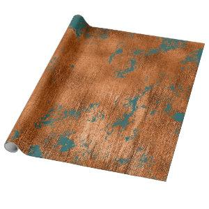 Copper Rust Teal Patina Metallic Abstract Elegant Wrapping Paper