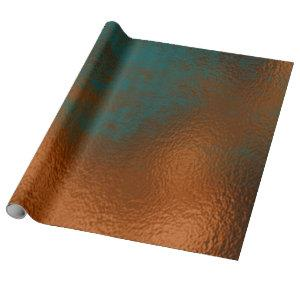 Copper Rust Teal Patina Metallic Glass Abstract Wrapping Paper
