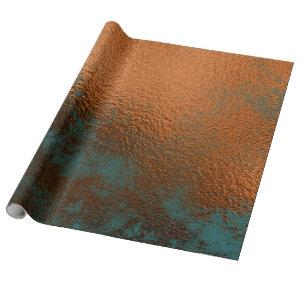 Copper Rust Teal Patina Metallic Honey Abstract Wrapping Paper