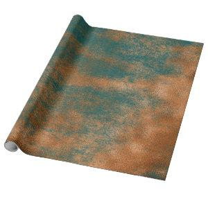 Copper Rust Teal Patina Metallic Urban Abstract Wrapping Paper