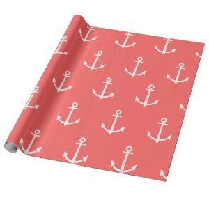 Coral and White Anchors Pattern 1 Wrapping Paper