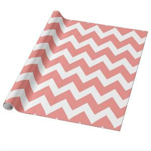 Coral and White Chevron Wrapping Paper