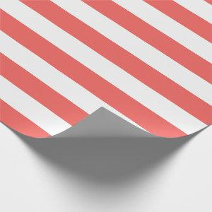 Coral and White Stripes Wrapping Paper