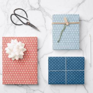 Coral Blue Polka Dot Stars Pattern Mix n Match Wrapping Paper Sheets