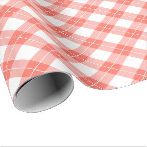 Coral Orange and White Diagonal Plaid Pattern Wrapping Paper