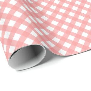 Coral Pink Gingham Print Glossy Wrapping Paper