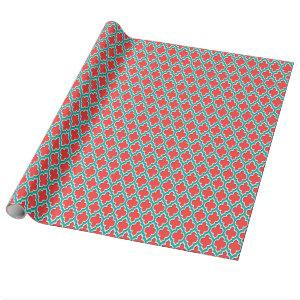 Coral Red Teal White Moroccan Quatrefoil #4DS Wrapping Paper