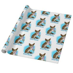 Corgi dog with toothbrush wrapping paper
