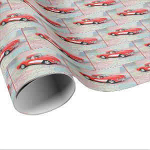 Corvette 1957 on road map wrapping paper