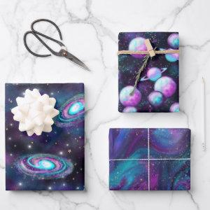 Cosmic Galaxy | Turquoise Blue Purple Nebula Wrapping Paper Sheets