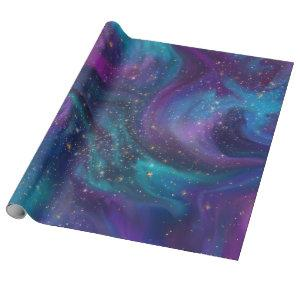 Cosmic Ink | Turquoise Blue Purple Galaxy Nebula Wrapping Paper