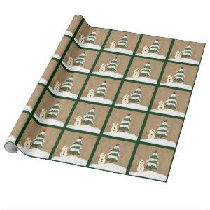 Country Christmas Tree Wrapping Paper