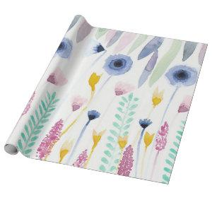 Country Cute Wildflowers Watercolor Art Wrapping Paper