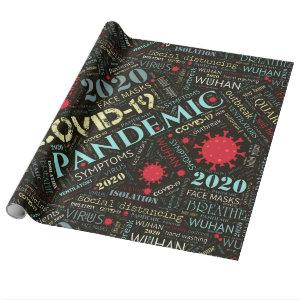 Covid-19 Text Design Color1 ID742 Wrapping Paper