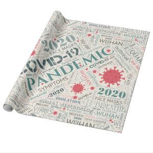 Covid-19 Text Design Color2 ID742 Wrapping Paper