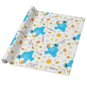 Crayon Cookie Monster Cookie Pattern Wrapping Paper
