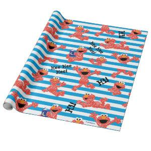 Crayon Elmo Stripe Pattern Wrapping Paper