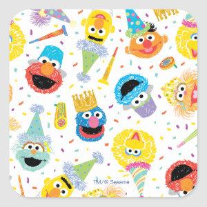 Crayon Sesame Pals Party Pattern Square Sticker