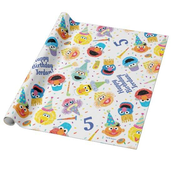 Crayon Sesame Pals Party Pattern Wrapping Paper