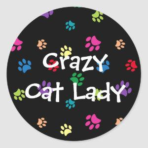 Crazy Cat Lady Colorful Painted Paw Prints Classic Round Sticker