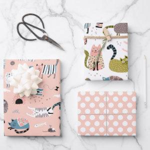 Crazy Cute Cats Wrapping Paper Set of 3