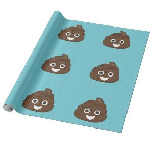 Crazy Poop Emoji Wrapping Paper (teal)