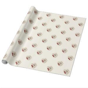 Cream background lovely cat wrapping paper