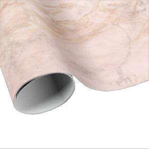 Creamy Rose Gold Powder Coral Blush Marble Stone Wrapping Paper