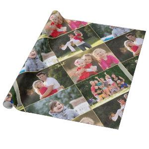 Create 5 Photo Collage Birthday Christmas Wedding Wrapping Paper