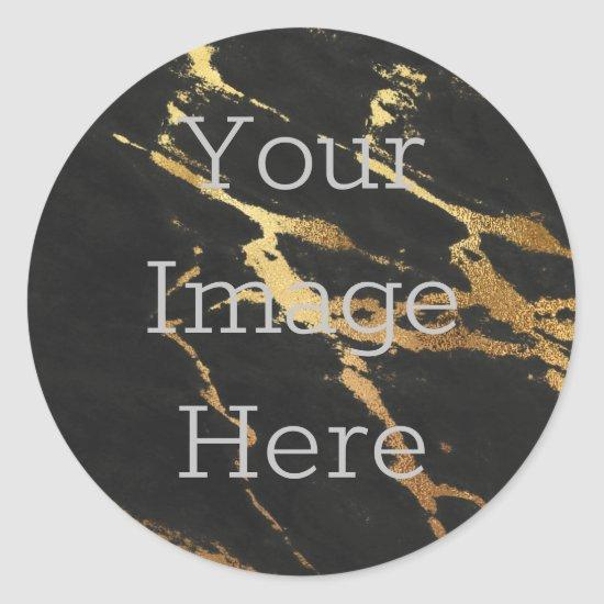 Create Your Black Marble Metallic Gold Faux Foil Classic Round Sticker