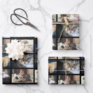 Create Your Own 5 Photo Collage Black Border Wrapping Paper Sheets