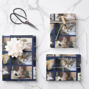 Create Your Own 5 Photo Collage Navy Blue Border Wrapping Paper Sheets