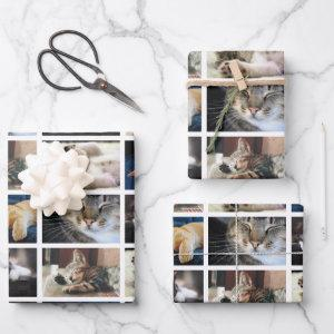 Create Your Own 5 Photo Collage White Border Wrapping Paper Sheets