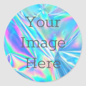 Create Your Own Abstract Metallic Faux Iridescent Classic Round Sticker