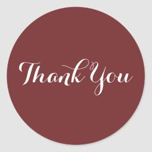 Create Your Own Burgundy Thank You Classic Round Sticker
