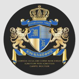 Create Your Own Coat of Arms Blue Gold Lion Emblem Classic Round Sticker