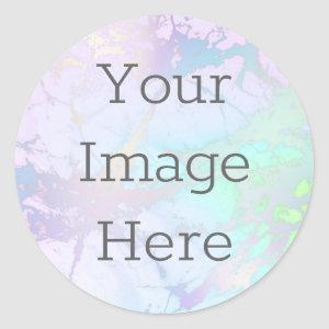 Create Your Own Iridescent Marble & Faux Foil Classic Round Sticker