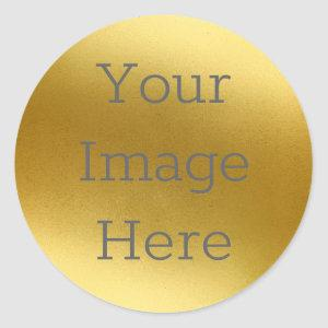 Create Your Own Metallic Antique Gold Faux Foil Classic Round Sticker