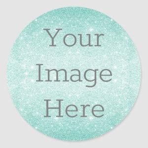 Create Your Own Metallic Aqua Blue Glitter Dust Classic Round Sticker