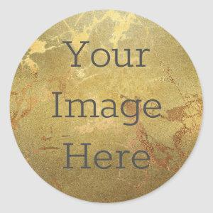 Create Your Own Metallic Gold Faux Marble Classic Round Sticker