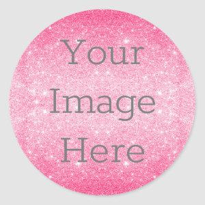Create Your Own Metallic Hot Pink Glitter Dust Classic Round Sticker