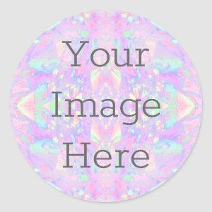 Create Your Own Metallic Iridescent Abstract Opal Classic Round Sticker