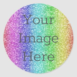 Create Your Own Metallic Rainbow Glitter Faux Foil Classic Round Sticker